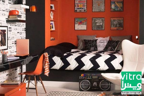 دکوراسیون اتاق خواب پسرانه با رنگ نارنجی