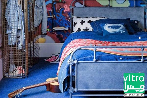 دکوراسیون اتاق خواب پسرانه با دیوار سفید