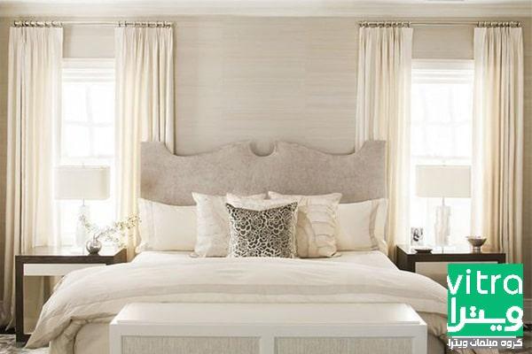 طراحی اتاق خواب ساده با پرده و تختخواب ساده
