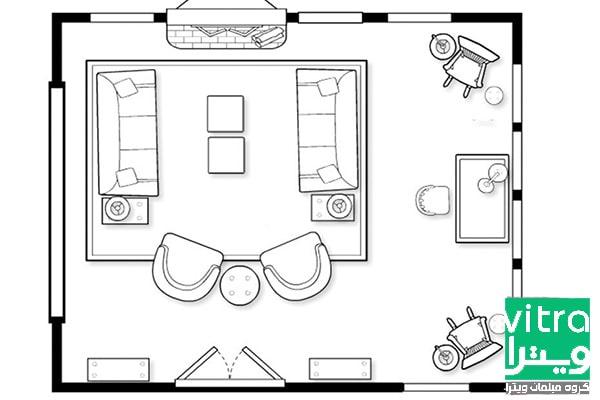 ۱. چیدمان مبل در پذیرایی مستطیل: هم نشینی غذاخوری و پذیرایی در کنار هم